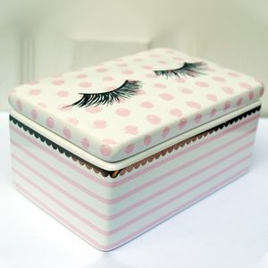 Other - Eye Lash Pink Polka Dot Ceramic box with Lid